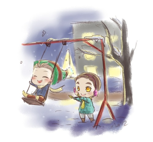 winter Klaine by mrsstarless and Chibi-Klaine on the swings by Anon