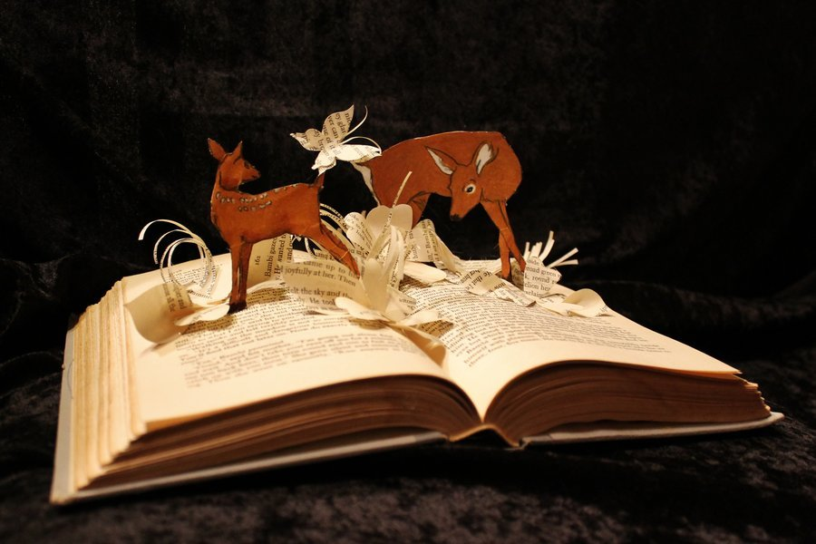 Bambi Book Sculpture by Jodi Harvey-Brown