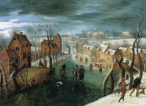 peira:  Jacob Grimmer (c.1525-1592):  Winter Landscape with people skating on a frozen river and hunters in the foreground (not dated) via Wikimedia