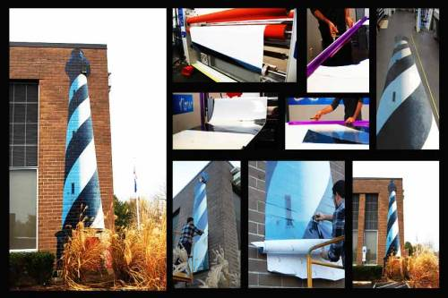 Our newest addition to the office, a 25 ft. Hatteras lighthouse!  Material: 3M IJ 8624 textured surface adhesive vinyl.  Process: Printed on HP L28500 latex inkjet printer. Laminated with 3M 8524, specific for the textured surface vinyl. Trimmed, measured, and laid out for installation. Applied with high heat to conform to the crevices of brick and mortar.