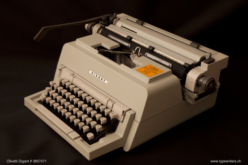 "Olivetti GIGANT (by Georg Sommeregger of www.typewriters.ch)  Olivetti ""Gigant"" typewriter. So called because of its huge typeface. Made in Brazil. Distributed in Germany by Vorspann-Werbung, Heilbronn. Courtesy of Alfred Wehner 2012."