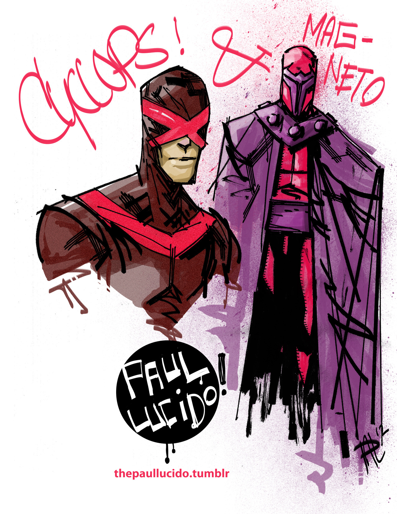 Cyclops and Magneto! Brush Pen and Photoshop