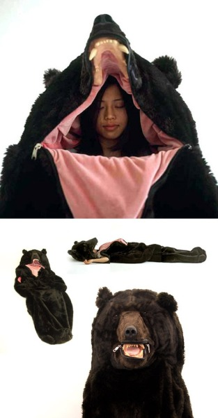 scoregasm:  crystal-shines:  What a delightful sleeping bag  If someone broke into your tent trying to murder you you could just scare them off as a bear.   My old sleeping bag is o
