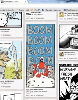 Just the First Frame is a webcomic aggregating site that posts just one frame from comics the administrator likes. I've had a number of my comics listed on there, but by the time I've clicked over so many other comics have already been posted that I was never able to spot one of mine. But I finally did today, so I took this screenshot of it.