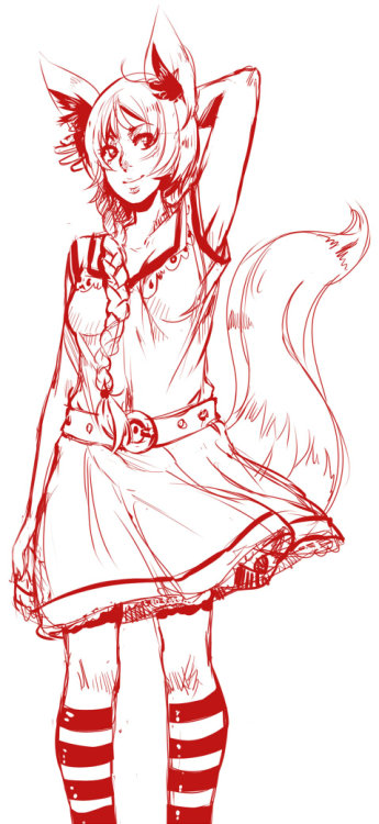 Really quick doodle of a foxthing girl. Tooo much snow here.. I can't even peek outside of the upstairs window anymore..'orz