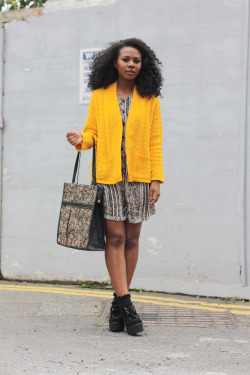 blackfashion:  cardigan and bag: hoyboutique.co.uk , playsuit: fashionfinds.co.uk, shoes : town , socks : topshop Maphi , 20 , uk (liverpool ), http://kolorkrazedolly.tumblr.com , photographed : http://www.hoyboutique.co.uk/ #Blackfashion FacebookTwitter @BlackFashionby