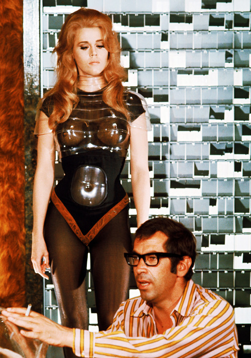Roger Vadim and Jane Fonda on the set of Barbarella (1968)