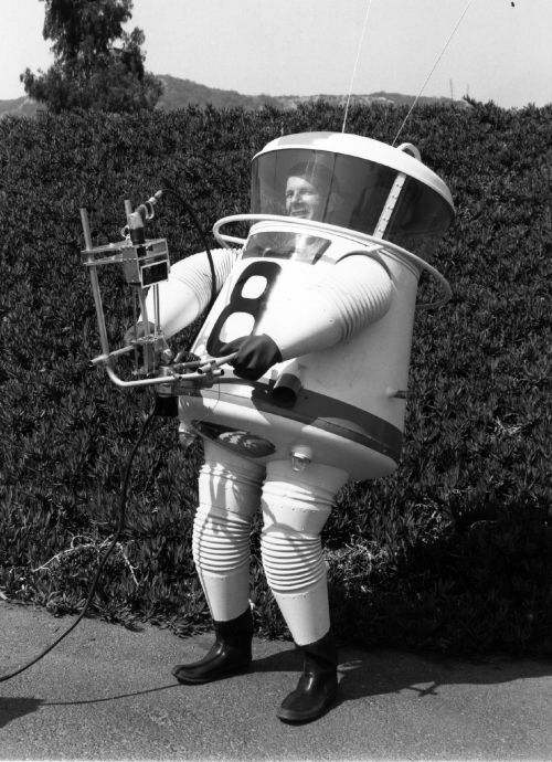 "Lunar Exploration Suit designed by Allyn B. ""Hap"" Hazard in 1960."