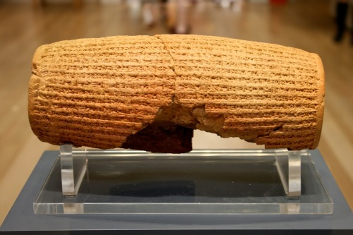 "British Museum lends ancient 'bill of human rights' cylinder to US  One of the British Museum's most iconic objects, the Cyrus Cylinder, will tour five major museums in the US next year. The cylinder, often referred to as the first bill of human rights, ""must be shared as widely as possible"", said museum director Neil MacGregor. It is inscribed with the earliest form of writing - Babylonian cuneiform. The cylinder has never been taken to the US before and will tour Washington DC in March, going on to Houston, New York, San Francisco and Los Angeles. The inscriptions were made on the clay artefact on the orders of the Persian King Cyrus the Great after he captured Babylon in 539BC. The inscription appears to encourage freedom of worship throughout the Persian Empire and to allow deported people to return to their homelands, according to the museum. The artefact was found in Babylon, in modern Iraq, in 1879 during a British Museum excavation and has been on display ever since. Seen as a symbol of tolerance and respect for different peoples and different faiths, a copy of the cylinder is on display in the United Nations building in New York. Alireza Rastegar, chairman of the board of trustees of Iran Heritage Foundation America, said: ""The Cyrus Cylinder and its message of respect for diversity and universal human rights carries a timely message about tolerance for all of us today."" MacGregor added: ""Objects are uniquely able to speak across time and space… I am delighted that it will travel to the US and am hugely grateful to both our US partners and the Iran Heritage Foundation for making this possible."" The exhibition, called, Cyrus Cylinder in Ancient Persia, will feature 16 objects and will showcase innovations under Persian rule in the Ancient Near East between 550 BC and 331 BC. Hosts include Smithsonian's Arthur M Sackler Gallery in Washington DC, the Museum of Fine Arts in Houston, the Metropolitan Museum of Art in New York, the Asian Art Museum in San Francisco and the J Paul Getty Museum in Los Angeles, where the tour will culminate in October 2013. The cylinder was previously lent by the museum to the National Museum of Iran in 2010 - 2011, where it was seen by more than one million people."
