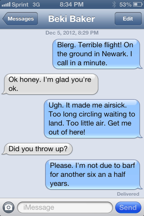 A Recent Text Conversation With My Wife (Air Travel Edition)