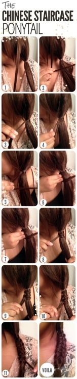 skin-beauty-fashion:  The Chinese Staircase Ponytail.