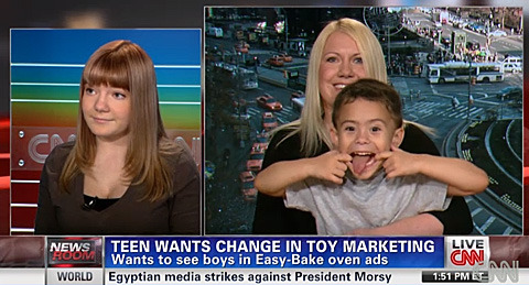 think-progress:  As seen on CNN: The most adorable family ever, combatting sexism one Easy Bake Oven at a time.