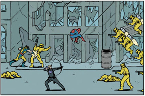 This panel looks more like an old-school beat-em-up than an actual comic.