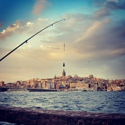 ileftmyheartinistanbul:  Fishing the Galata Tower (by C Gecici)   IleftmyheartinIstanbul.com