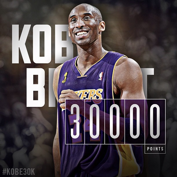 Kobe Bryant - Congratulations to Kobe Bryant on his 30,000 career point!!   #Kobe30K #GoLakers