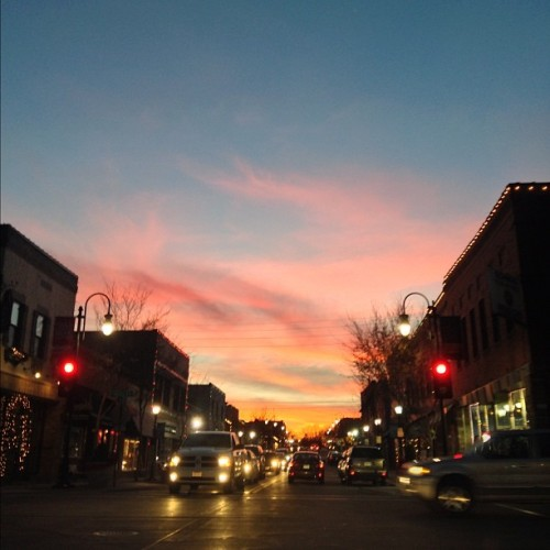 #fmsphotoaday December, Day 6: From Where I Live — Downtown Lee's Summit, Mo. A beautiful sunset match this morning's brilliant sunrise.