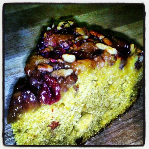 Pumpkin Upside Down cake with a Cranberry Pecan topping #pumpkin #cake #cranberrry #pecan #dessert #yum