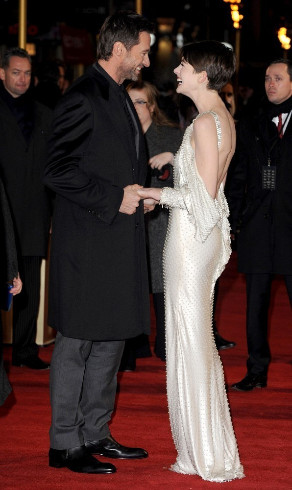suicideblonde:  Hugh Jackman and Anne Hathaway at the London premiere of Les Miserables, December 5th