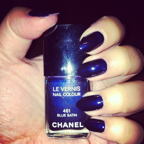 such a pretty blue. #Chanel #BlueSatin #nails #nailpolish #nailsdid #mani