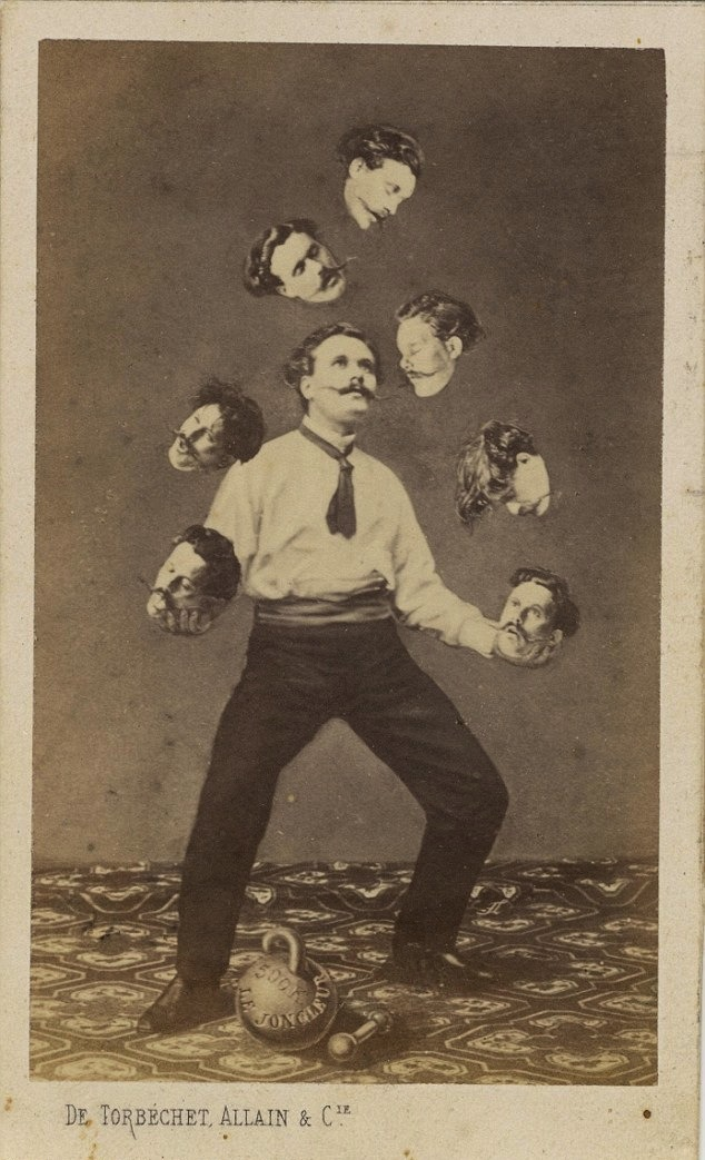 softpyramid:  De Torbéchet, Allain & C. Man Juggling His Own Headca. 1880 Albumen silver print