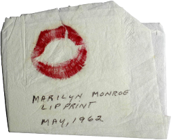 ha-ze:  marilyn monroe's lip print on a napkin - transparent I feel like making things transparent ok