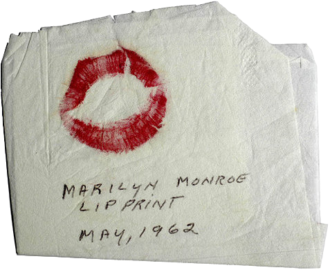 marilyn monroe's lip print on a napkin