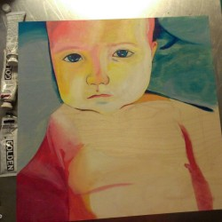 New painting in progress. Mixed media, Harper Boy, 2012.