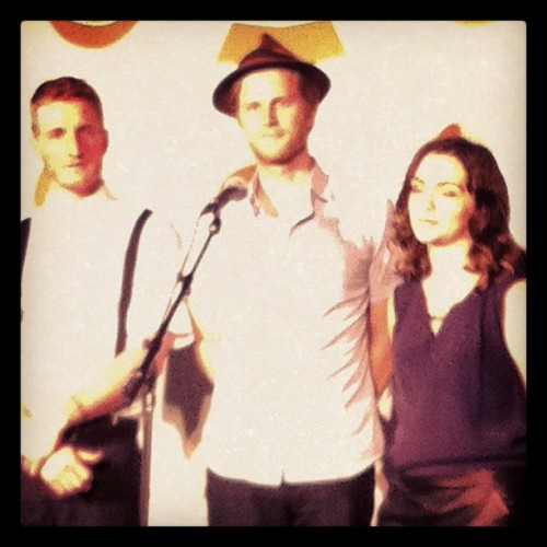 The Lumineers backstage in the press room at the Grammy Concert Live! (at Bridgestone Arena)