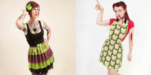 redstripeclothing:  These ridiculously cool 'Infected' Suzi Homemaker apron x Miss JamJam bow packages have just arrived instore!They are limited edition so get in quick.For these and more new aprons now available click here.  Lookie