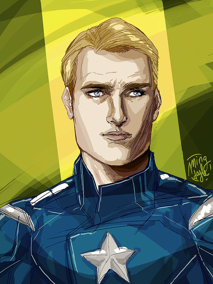 mingdoyle:  Captain America, half hour Photoshop speed painting.