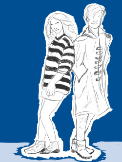 Playing around with an old Doctor Who sketch, though these two may actually be Karen and Matt rather than Eleven and Amy (they certainly look sassy enough for the part).