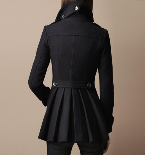 Black Pleated Military Coat by Burberry
