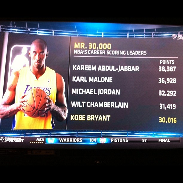 #Kobe becomes the 5th player ever to join the 30,000 point club #Lakers #LakeShow #Mamba #LakerGang #LakerNation #Mr30,000 #NBA