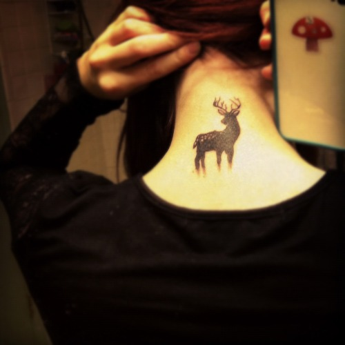 fuckyeahtattoos:  Drew a little deer and decided to make him mine forever:)Done by Spider at T Cats in Flint, Michigan. www.alliegat0r.tumblr.com
