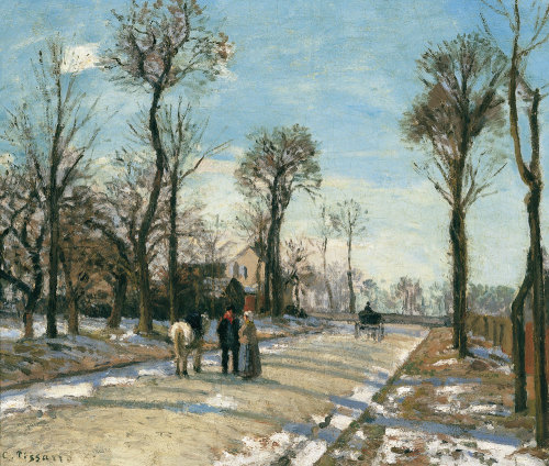 aleyma:  Camille Pissarro, Route de Versailles, Louveciennes, Winter and Snow, c.1870 (source).