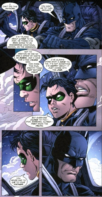 You never had to lie to your father. Teen Titans #08 (2004)