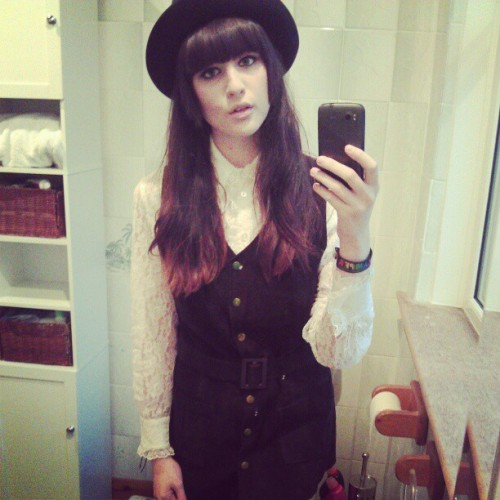 cba with college today :'(  #me #70s #suede #waistcoat #dress #mini #lace #fedora #trilby #instadaily #instagirl #ootd #Glasgow #college