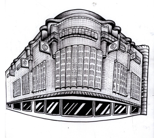 sketch of The Bijenkorf building in The Hague