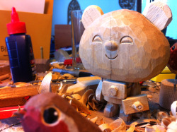 PandaOtaku sighting in Sheffield wood-carving studio! Hand-carved edition of figures coming soon! #extreme-excite!