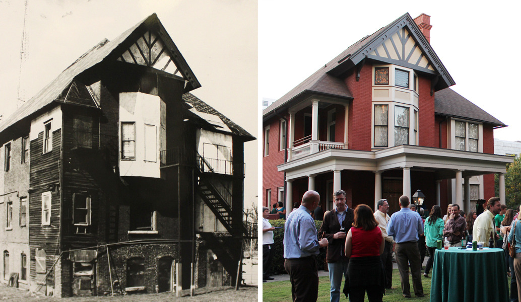 Then and now view of Atlanta's Margaret Mitchell House in 1991. This is the historic house where Gone With the Wind was written.