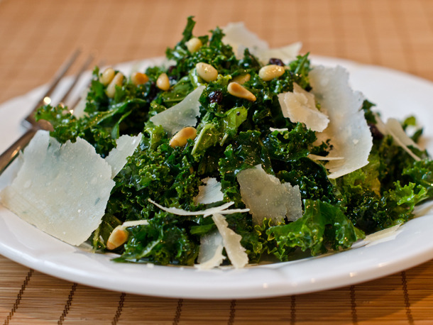prettybalanced:  Shredded Kale Salad with Pine Nuts, Currants and Parmesan