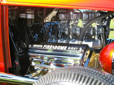 "Beautiful ""old school"" DeSoto Hemi with four carbs in pebble Beach winning hot rod."