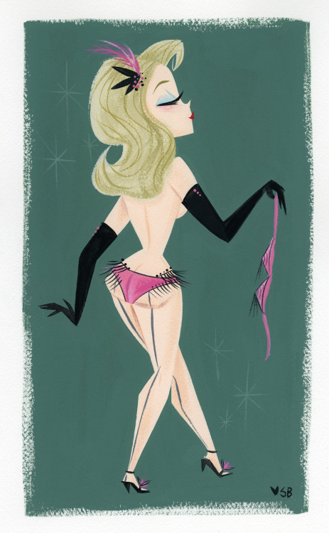 A little burlesque painting from last night, gouache on watercolor paper.