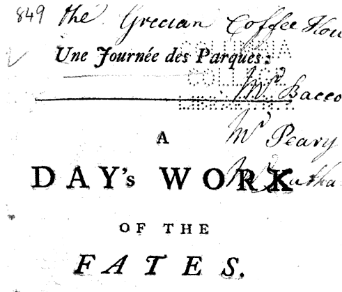 Inscription of the Grecian Coffee House, London. From the title page of Une Journée des Parques: A Day's Work of the Fates by Alain René Le Sage (1745). Original from Columbia University. Digitized April 13, 2009.