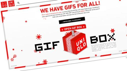 "the only thing better than a gift? …a gif! get it? those moveable digital images? come on. anyway, this is where uniqlo is taking that pun and making it better this holiday season. by commissioning seven gif artists (and snagging email addresses in the process—smart), visitors to uniqlo.com/gifbox are asked to submit their email addresses to open a mystery ""gif box."" each box contains an animation and, in most cases, an online coupon for $5 off a future purchase of $50+, valid through the end of the year. one hundred boxes contain a gif that can be cashed in for a $500 gift card."