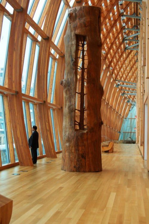 "Artist Giuseppe Penone carefully removes the rings of growth to reveal the ""sapling within"". By carving out the inside of a tree trunk and leaving the knots in place, they eventually emerge as tiny limbs."