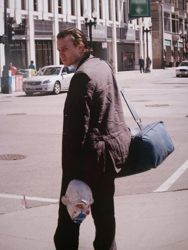 Heath Ledger on the set of The Dark Knight