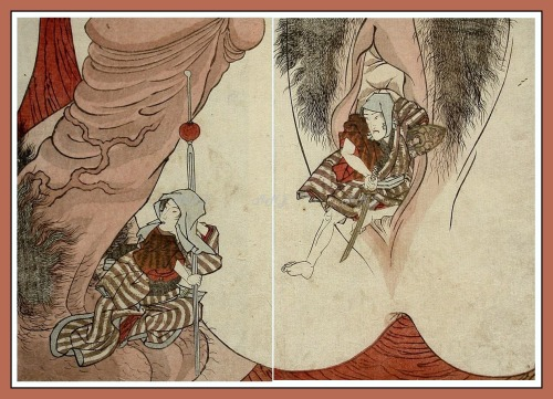 Nude and erotic art: Utagawa Kunisada, Genitalia, 1827