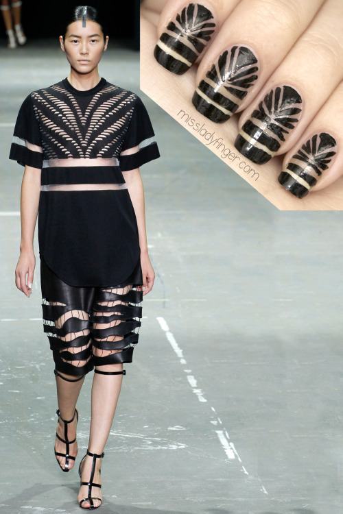 MANICURE MUSE: Alexander Wang Spring '13 Showing a little skin never hurt anybody… I'm excited to reveal the Alexander Wang Ladyfinger. Feeling cheeky? Get the look here.
