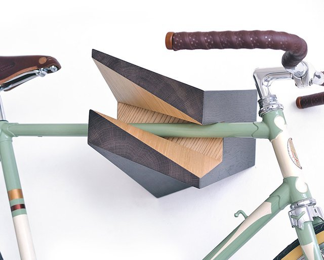 Iceberg Wooden Bike Hanger by Woodstick Ltd. Oak.